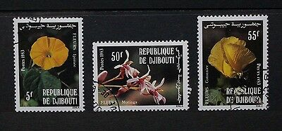 DJIBOUTI 1983 Flowers. Set of 3. Fine USED/CTO. SG878/880.