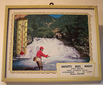 vintage Barsotti Bros Bakery Pittsburgh Pa advertising thermometer fishing USA