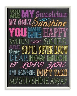 The Kids Room by Stupell You are my Sunshine Black Background Rectangle Wall