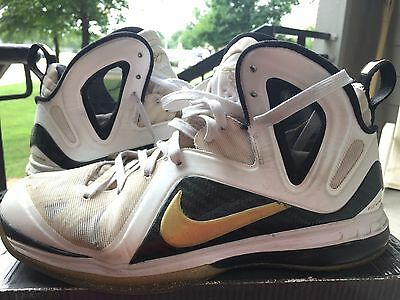 957b8ab1d5f6 Nike Lebron 9 P.S. Elite Home Size 10 White Metallic Gold NOT South Beach  Galaxy