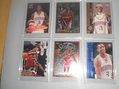 Allen Iverson 6-card Rookie Lot NBA Basketball Trading Cards - Hall of Fame
