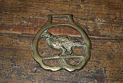 Vintage Brass Horse Harness Medallion Ornament Tack - Crow Bird