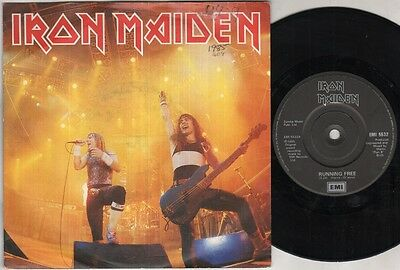 "IRON MAIDEN Running Free-Live 7"" Ps, B/W Sanctuary-Live, Emi 5532 (Vg/Ex, Sleeve"