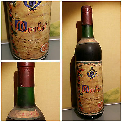 Bottiglia Vino Merlot - 1971 - Rare Wine Bottle