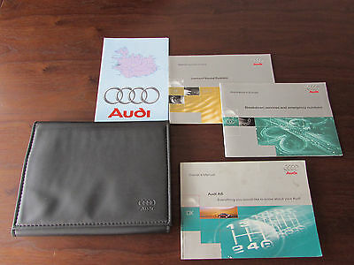 Genuine Audi A6 Owners Holder Wallet Black 4 Manual Service Book Handbook