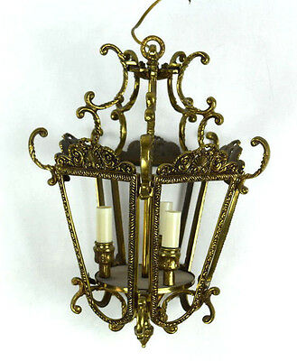 Vtg Brass Cast Iron Ornate Pendant Chandelier Light Fixture Retro Hanging Lamp