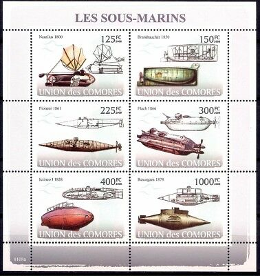 Comores 2008 Vintage Submarine Navy Nautical Transport Diving History sheet MNH