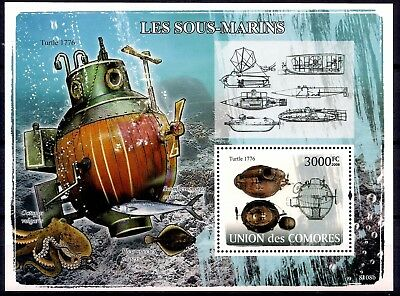 Comores 2008 Turtle - Vintage Submarine American Revolutionary War m/s MNH