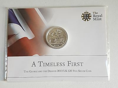 royal mint st george and the dragon silver twenty pound coin