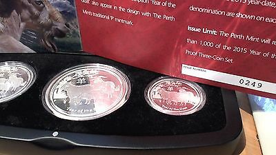 2015 Australian Lunar Year Of The Goat Silver 3-Coin Proof Set