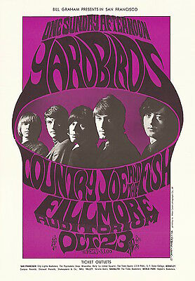 MINT Yardbirds Jimmy Page Jeff Beck 1966 BG 33 Fillmore Poster