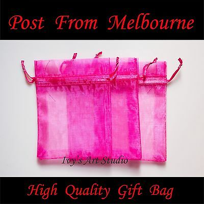 30/50/100 PCS Hot Pink Organza Bags Wedding Gift Pouch Bag Jewelry Packing MED