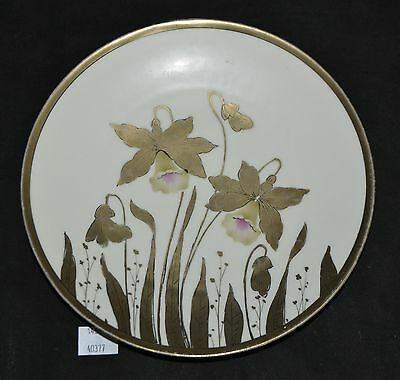 ThriftCHI ~ Hand Painted Prussia Wall Plate w Gold Floral Design
