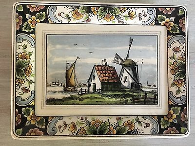 WESTRAVEN ANNO DELFTS DUTCH WINDMILL MADE IN HOLLAND Jewelry Dish WALL PLAQUE