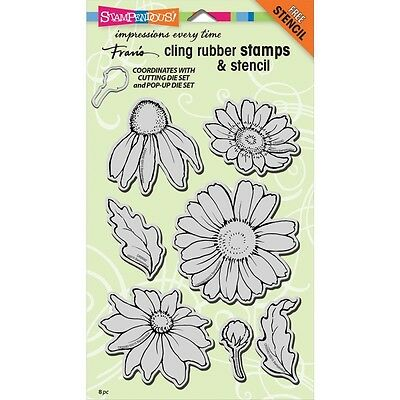 "Stampendous Cling Stamps & Stencil 5""X7"" - Daisy Mix"