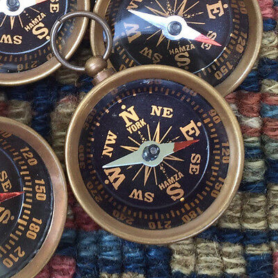 1 working compass pendant vtg style brass glass top steampunk victorian works!