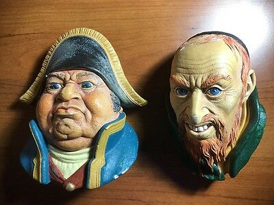 Lot of 2 Vintage Bossons England Chalkware Heads Mr. Bumble & Fagin - Dickens