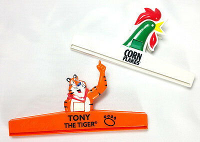 Kelloggs Vintage Bag Clips Set Tony the Tiger Corn Flakes Rooster 1980s