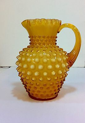 "Vintage 60s FENTON HOBNAIL Syrup Pitcher HONEY AMBER 5.7"" glass Opalescent milk"