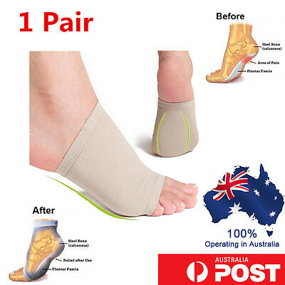 Unisex Cushioned Foot Arch Support Shock Pain Absorber Relief Achy Tired Feet Pr