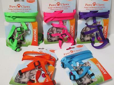 Large cat kitten  adjustable nylon walking harness & lead set chest 28-40cm