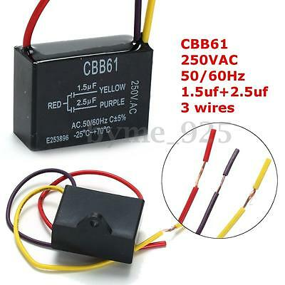 CBB61 1.5uF+2.5uF 50/60Hz 3 Wire 220V AC Ceiling Fan Capacitor -25 to +70°C