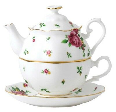 Royal Albert New Country Roses Tea For 1 White Stackable Teapot Cup & Saucer New