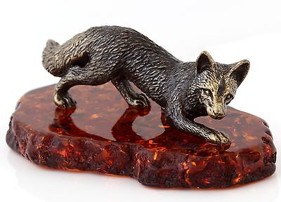 """Cognac Baltic Amber Fox while Hunting Solid Brass Animal Figurine Sculpture 2.7"""""""