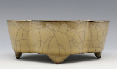 chinese ancient Yellow glaze porcelain sculpture Gold wire Narcissus basin