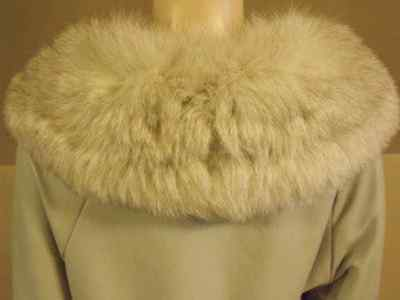 VINTAGE LAMBSKIN TRENCH COAT grey soft leather jacket arctic fox fur collar S/M