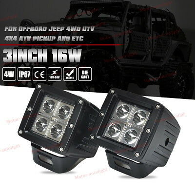 2X 3inch 16W Cree LED Cube Work Lights Driving Pods Off-road Atv Ute Spot Lamp