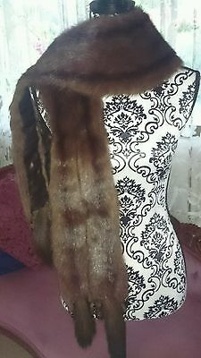 The Perfect Vintage Stole Russian Sable 4Tails Real Fur Long wrap scarf boa cape