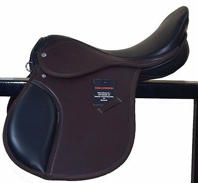 Synthetic Horse  Saddle In Two Tone Black And Brown 14,15,16,17&18 Free Shipping