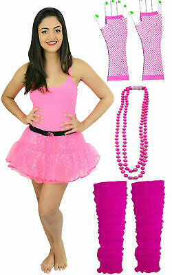1980'S Neon Uv Hen Party Costume Pink Sequin Tutu Gloves Leg Warmers Beads