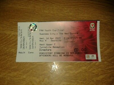 Swansea City V The New Saints Unused Ticket 16/04/14 Mint Faw Youth Cup Final
