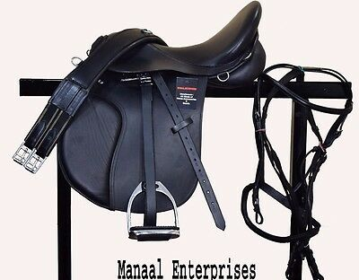 Leather Horse Saddle In Two Tone Black And Brown 14,15,16,17&18 Free Shipping