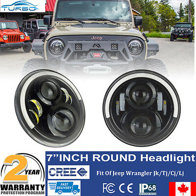 2x 7Inch Led Projector Headlight Upgrade Halo Eye Ring Lamp For Jeep Wrangler JK