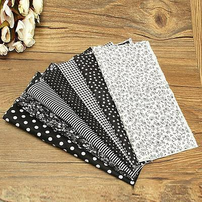 Lot of 7pc Black DIY Cotton Fabric Pattern Assorted Squares Quilt Sewing 25x25cm