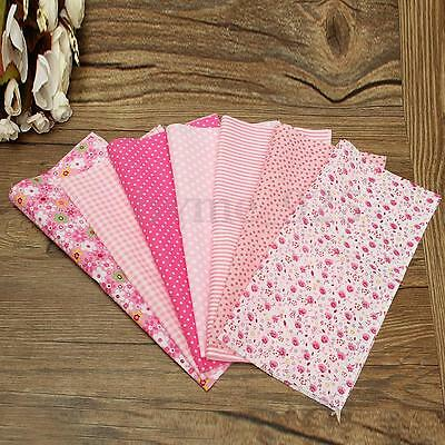 Lot of 7pc Pink Square Cotton Fabric Pattern Assorted Quilt Sewing DIY 25x25cm