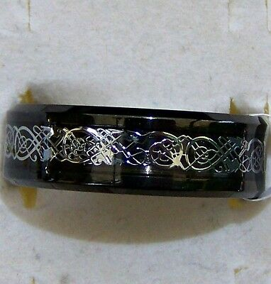 Celtic _ Dragon _  Black&silver ~ Size:9 ~ S/steel  ~ Ring ----- (Great_Gift)