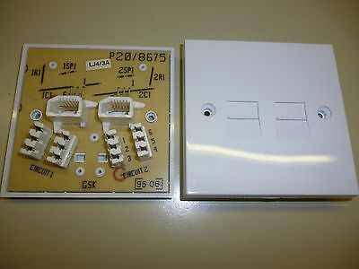 Double Twin Telephone Extension Socket Faceplate 4/3A, Cheapest On Ebay.
