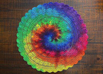 Tie Dye Rainbow Vintage Crochet Lace Doily 74cm Table Cloth Table Topper R593