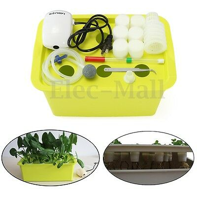 6 Holes Plant Site Hydroponic System Grow Kit Bubble Indoor Garden Cabinet Box