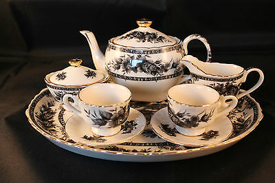 Miniature Regal China Childs Teaset Black Floral Teapot Milk Sugar 2 Cups & Tray