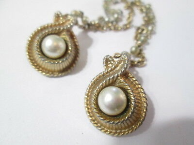 Pretty Metal Faux Pearl Sweater Guard Clips Double Chain Fluted Metal Vintage