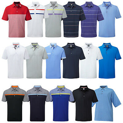 FootJoy Mens Stretch Polo Shirt - FJ Prodry Tech Solid Stripe Top Golf Tee