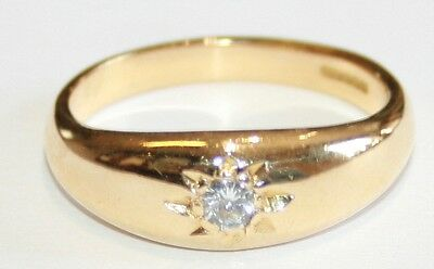 Gents 18ct Gold Diamond Gypsy Set Solitaire Ring 0.16cts Size U