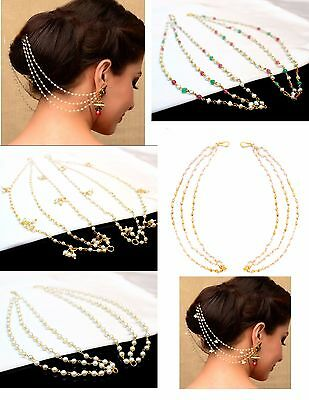 Indian Bollywood Real Pearl Handmade Sahara Kaan Chain Heavy earrings Jewellery