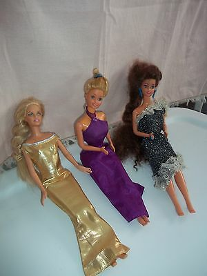 """3 Barbie Dolls in Evening Dresses [ 12 """"- 1966,1999 ] Indonisa, China"""