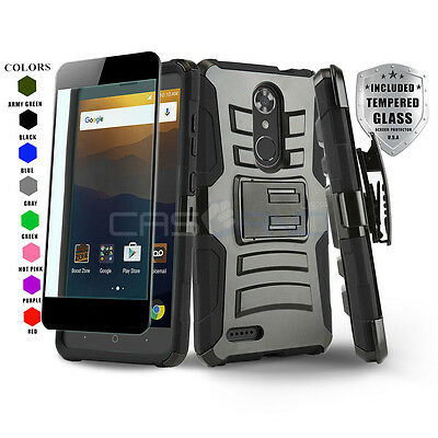 Refined Armor Cover Phone Case & Holster For [Zte Max Xl] +Black Tempered Glass
